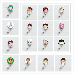 Carretes de identificación retráctiles online-Cute Korea Badge Reel Retractable Pull Buckle ID Card Badge Holder Reels Clip de cinturón Hospital School Office Supplies Anti-Lost Clip