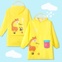 Argentina Poliéster PVC Dibujos animados amarillos divertidos Estilo animal Impermeable para niños Impermeable para bebés, niños, impermeable, impermeable, impermeable, impermeable, impermeable, poncho cheap pvc raincoat coats Suministro