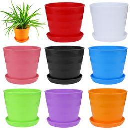 il giardinaggio coltiva il sacchetto all'ingrosso Sconti Rotondo Mini plastica colorata Pianta Vaso da fiori Giardino Home Office Decor Fioriera Desktop Vasi da fiori decorazione vaso di fiori -W