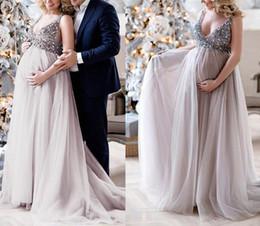 c0e27e952ec9 Abiti da sera lunghi in rilievo di cristallo per le donne convenzionali incinte  di maternità di promenade del partito di abiti convenzionali dell abito