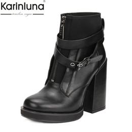 Karinluna Llegadas Dropship Tamaño grande 41 Venta al por mayor Zip Up Botines Zapatos de mujer Zapatos de tacón alto gruesos Zapatos de mujer desde fabricantes