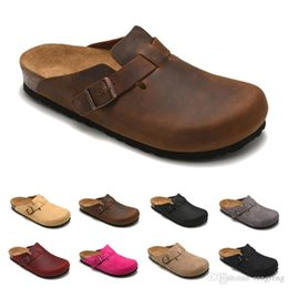 female lazy shoes Coupons - Boston Mayari Arizona Gizeh leather bag head pull cork slippers female male summer anti-skid slippers lazy shoes lovers beach shoes Scuffs