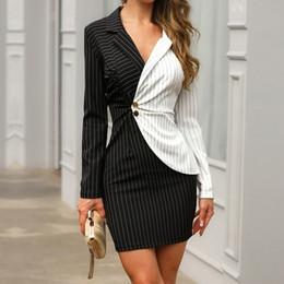 Vestidos de verão profissional on-line-Mulheres Slim-fit Botão Contraste Profissional Vestido Com Decote Em V Stripe Vestido Curto Moda Verão Trabalho de Escritório Curto Vestido