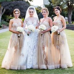 Свадебные платья онлайн-2020 NEU A Line Шампанское Платья Невесты Изображения Южная Африка Кружева Аппликация Robe de Soiree Свадебное Платье для Гостей