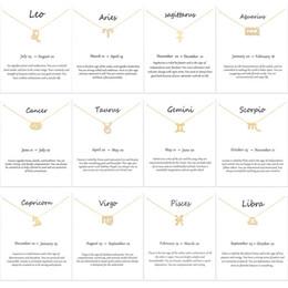 Argentina 12 Collar Colgante Constelación Collar de Signo del Zodiaco de Plata Dorada Regalos de Cumpleaños Tarjeta de Mensaje Blanco para Mujeres Niñas supplier zodiac sign women necklaces Suministro