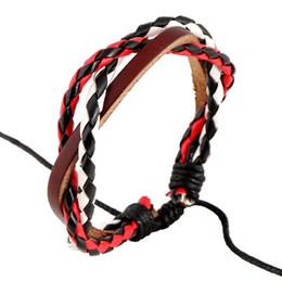 bracelets en cuir rouge pour hommes Promotion Noir-blanc-rouge Corde Bracelet Designer Européen Amour Mens Bracelet Ensembles de Bijoux Amour Fine Bijoux En Cuir Femmes Bracelets Pour Cadeau Unisexe