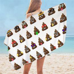2020 coperte microfiber all'ingrosso Smiley Faces Beach asciugamano in microfibra fumetto Bagno tovagliolo Poop design Yoga Mat divertente coperta 75x150cm all'ingrosso coperte microfiber all'ingrosso economici