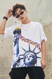 2019 shorts da liberdade Marca Harajuku Mens Estátua da Liberdade Impresso Camiseta de Algodão Designer De Manga Curta Oversize Hip Hop Casuais Namorado TShirt Tee YC008 shorts da liberdade barato