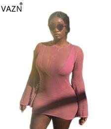 Heiße rosa damen minikleider online-VAZN 2018 Sommer heiße feste rosafarbene Ineinander greifen-Minikleidfrauen reizvolle Oansatz volle Hülsenkleiddamen sehen hrough dünne Kleider C1010