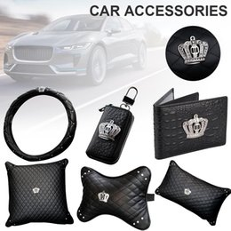 crown packaging Promo Codes - Steering Wheel Cover Headgear Neck Care Lumbar Pillow Pillow Key Package Crystal Leather Crown Car Seat Interior Accessories