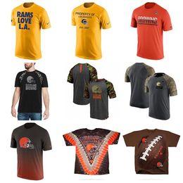Camisa de homens de listras de estrelas on-line-2019 Hot Style Homens Browns Pro Line por fanáticos Branded Estrelas Stripes T-Shirt - Branco Amarelo