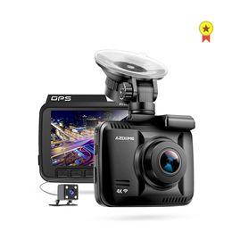Автомобиль dvr двойной gps ночь онлайн-Недавно 4K встроенный GPS WiFi автомобильный видеорегистратор Dash Cam двойной объектив автомобиля камера заднего вида видеокамера ночного видения Dashcam