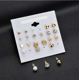 2019 diamante coração brincos Moda coreano conjunto de jóias brincos 12 pares de imitação quadrado brincos de zircão pêssego coração brincos de diamante diamante coração brincos barato