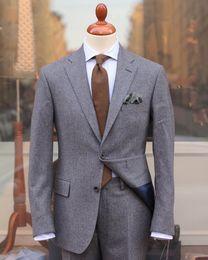 Esmoquin de cachemira online-2019 Nuevos Airtailors 50% de lana Cashmere Tweed Trajes de boda para hombres Muesca de solapa Padrinos de boda Trajes de esmoquin Trajes de novios Tallas grandes
