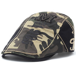 Newsboy cabbie hüte online-Cotton Flatcap Duckbill Hut Ballon- Ivy Cabbie Drving Hut Jagd Golf Männer Frauen Adjustable Gatsby Mode Camouflage 1985 Stickerei-12490