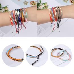 Semi di ragazza online-Braccialetto di perle di vetro colorato Bohemian braccialetto 3 strati Boho misto trilaminare treccia braccialetto per donne ragazze amicizia regali gioielli