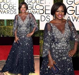 violas flowers Coupons - 73rd Golden Globes Award 2019 Celebrity Dresses Viola Davis Sheer Neck Beads Evening Dress Half Sleeves Plus Size Maxi Prom Dress Party Gown