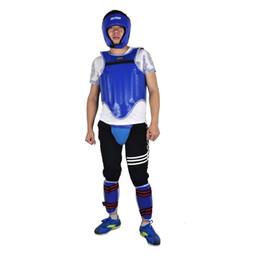 Matériel de formation en cuir PU Sanda Boxing Gear protecting 4pcs Set Thick Head Guard Coffre Jockstrap Leg Shield # 203214 ? partir de fabricateur