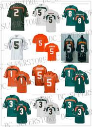 2019 marchio jersey Magliette da calcio personalizzate Miami Miami Hurricanes # 1 Mark Walton 3 Stacy Coley Frank Gore Tracy Howard 5 Reggie Bush Andre Johnson XS-5XL marchio jersey economici