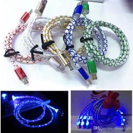 Cordon de charge de câble flash led en Ligne-Universal Micro USB 2.0 Câble de chargeur visible LED Blue Light Data Sync Smiley clignotant 1 M Streamer Ligne de câble de charge pour Samsung Android