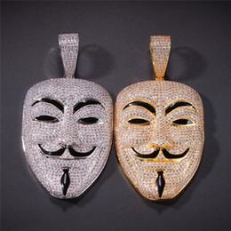Vendetta oro online-Placcato oro 18K V per Vendetta Mask regalo dei monili di Hip Hop della collana del pendente fuori ghiacciato completa zircone fascino Mens