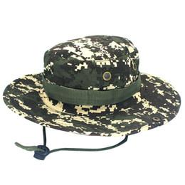 boonie sombreros verde Rebajas Cadena de camuflaje sombrero verde octogonal casquillo ajustable camuflaje Boonie sombreros de Nepal Cap Mens Pescador sombrero visera
