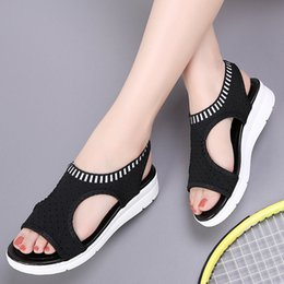 gold chunky heeled sandals Promo Codes - Women Summer New Elastic Sports Sandals Female Fish Mouth Mesh Large Size Shoes Thick Bottom Sandals