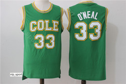 Camisa de basquete cor verde on-line-Homens Shaquille Oneal Jersey 33 High School Cole Basquete Jersey 33 O Neal Uniforme Equipe Green Color University Respirável Qualidade
