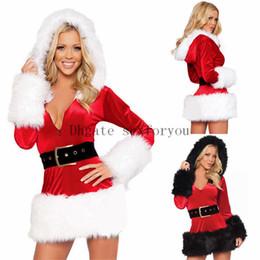2019 abiti sexy della signora di natale Cintura donna incappucciati vestiti di Natale costumi nero di alta qualità rosso Sexy Ladies Velvet Dress Santa adulti Mrs Santa Claus vestito abiti sexy della signora di natale economici