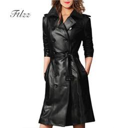 плюс размер кожаный рукав пальто Скидка Женская искусственная кожа пальто женское пальто весна осень с длинным рукавом двубортный длинное пальто дамы плюс размер ветровкаMX190822