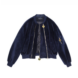 LANMREM 2019 новая весна женская мода куртка молнии металл полный рукава бархат свободные пальто высокой талией WC83405L высокое качество от