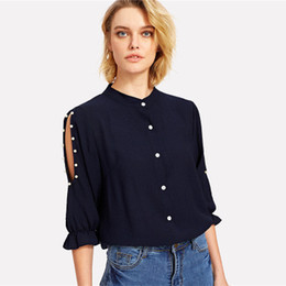 half collar shirts Coupons - Women Off-the-shoulder Beaded Half-sleeve Collar Shirt Fashion Ladies Casual Chiffon Solid Color Shirts Hollow Out Female Blouses