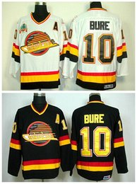 Cheap Hóquei no Gelo 10 Pavel Bure Jerseys Vancouver Canucks Estrada Alternate Black White Men Moda Borde Logos de