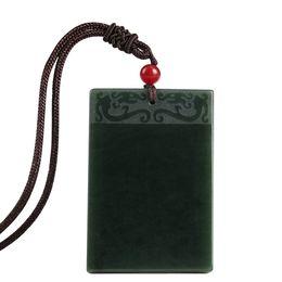 Ожерелье из талисмана онлайн-Natural Hetian Jade Pendant QINGYU Square Talisman Magical Magic Pendant Necklace Men Amulet Necklace Jade Jewelry