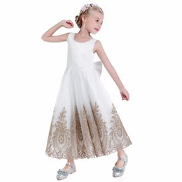 ea0e21a894 Gold Lace Flower Girls Dresses For Weddings Cheap Jewel Big Bows Ankel  Length Tulle Satin Children Birthday Pageant Party Dress Gowns