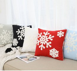 2019 cojines de copo de nieve 5styles caja de la almohadilla del copo de nieve cubre bordado Línea de algodón banda regalos de la almohadilla del amortiguador de la cubierta Decoración de Navidad 45 * 45cm FFA3000 rebajas cojines de copo de nieve