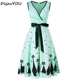 c8c1604a9c9 Plus Size Women Dress Cat Print Midi Fit and Flare Swing Vintage casual 50s  Dress Sexy V-Neck Sleeveless A-Line Dresses