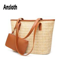 Соломенный торт-кошелек онлайн-Ansloth  Woman Bag 2019 Fashion Straw Bag Handbag For Lady Large Capacity Tote Summer Beach With Purse HPS515