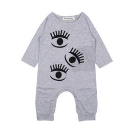 Pestañas mas largas de niña online-Monos de bebé Mameluco para niños Impresión Ojos grandes Pestañas Mangas largas Cuello redondo Niños Niñas Traje combinado Ropa de arrastre