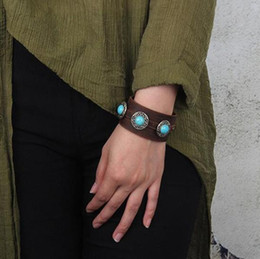 bijoux pour femmes expédition gratuite Promotion Bracelets de manchette en cuir large rétro - Turquoise Charm Designer Bracelets Bracelet Bijoux Femmes Bracciali Livraison gratuite