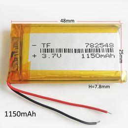 li 3.7v comprimido Desconto Modelo 782548 3.7 V 1150 mAh Polímero De Lítio Li-Po Bateria Recarregável Li células Para DVD PAD Tablet PC Banco De potência do telefone móvel GPS