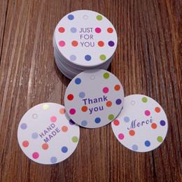 Tag regalo di carta puntini rotondi Grazie Merci Solo per te Favore di partito fatto a mano Mer Packing Deco Paper Cards Hang Tags 300pcs da