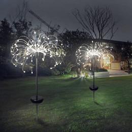 Lámpara de diente de león online-90/150 luz solar LED ocho modos de función luces de césped de diente de león / lámpara de fuegos artificiales de hierba / luz de jardín solar impermeable al aire libre