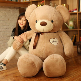venta al por mayor osos de peluche llaveros Rebajas Muñeco de peluche grande de peluche 40-180 cm con una corbata de moño Gran oso de peluche
