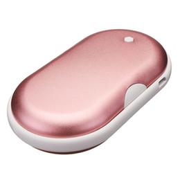 fuente de alimentación de bolsillo Rebajas 5200mAh portátil Macarons mano de calentador de bolsillo de doble cara de cerámica PTC Calefacción aleación de aluminio de banco móvil de fuente de alimentación externa Charg batería