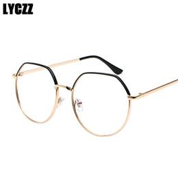 0264aeb68f387 LYCZZ Glasses Frame for Women Men Optical Glasses Gold Metal Transparent  Clear Lens Sun Eyeglasses Frames lentes opticos mujer