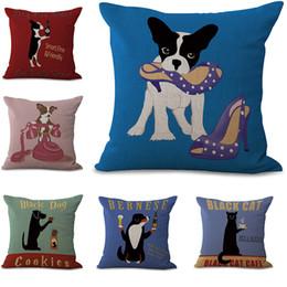 2019 almofadas de almofadas para cão Cão preto Gato Fronha capa de Almofada de algodão de linho Jogue Quadrado Fronha Capa de Almofada Decorativa Covers Drop Ship 300858