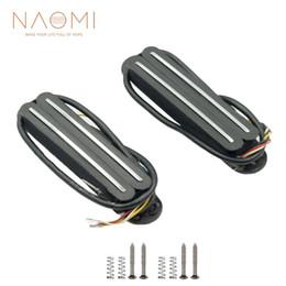Humbucker negro online-NAOMI 2 UNIDS Dual Rail Humbucker Pickup Para Guitarra Eléctrica de Alta Calidad de Color Negro Nuevas Piezas y Accesorios para Guitarra