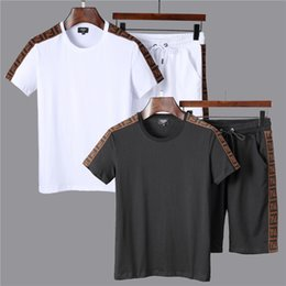 uomini di seta t-shirt Sconti FENDIS maglietta da uomo di marca magliette di lusso del progettista tee shorts tuta estate casual t-shirt di alta qualità camicia di tessuto di seta degli uomini nuovo vestito sportivo