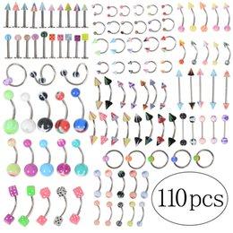 Canada 110pcs / lot mode piercing ensemble barre à sourcils lèvre nez pircing oreille goujons en acier inoxydable bijoux de corps mixte cheap eyebrow fashion Offre